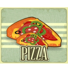 pizza retro label vector image