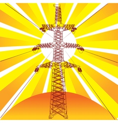 Transmission line with sun rays on background vector