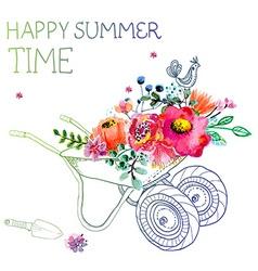 Watercolor flowers and garden trolley vector image vector image