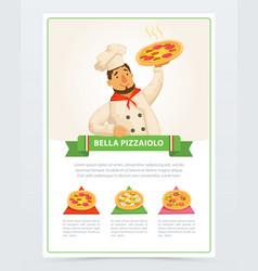 cartoon character of italian pizzaiolo holding hot vector image vector image