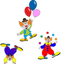 cute clown character design set birthday or vector image