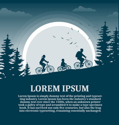 family of three cycling at night in motion vector image