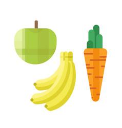 fresh green apple carrot and banana vector image