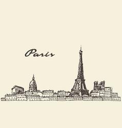 paris skyline france hand drawn vector image vector image