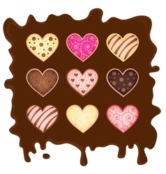 set heart-sweetmeats on chocolate vector image vector image
