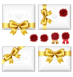 Set Of Envelopes With Golden Bow And Wax Seals vector image