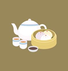 chinese dim sum steamed bun in basket vector image
