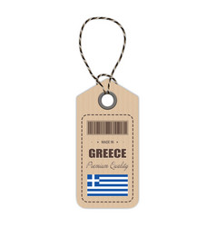 hang tag made in greece with flag icon isolated on vector image vector image
