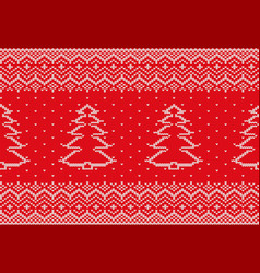 knit xmas geometric ornament with christmas tree vector image vector image