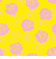 Seamless floral yellow pattern with pink roses vector image
