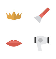 set of simple beauty icons elements brush crown vector image vector image