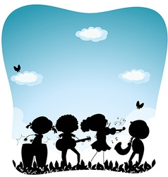 Silhouette people playing music in the park vector image vector image