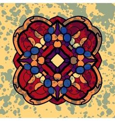 Vintage four sided symmetrical mandala pattern vector image