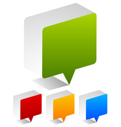 3d blank speech or talk bubbles in four colors vector