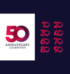 50 years anniversary celebration red logo vector