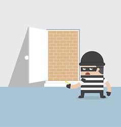 A thief cannot get through safety door vector