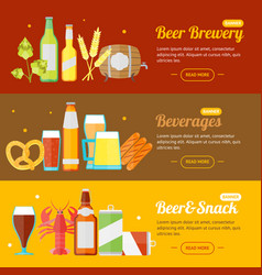 Beer banner card horizontal set vector
