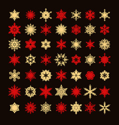 big collection elegant gold and red snowflakes vector image