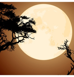 Big yellow moon and silhouettes tree branches vector