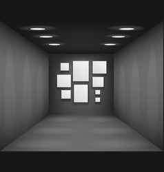 Black showroom art gallery empty museum room vector