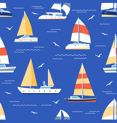boats seamless pattern summer marine print vector image