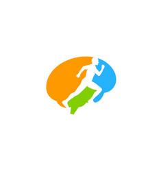 brain run logo icon design vector image