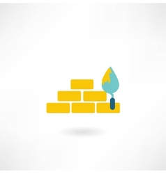 bricks with trowel icon vector image