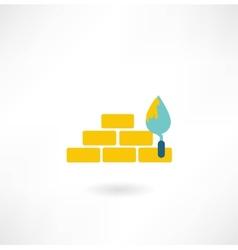 Bricks with trowel icon vector