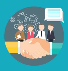 business handshake agreement partnership meeting vector image