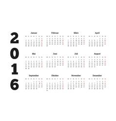 Calendar 2016 year on german language A4 sheet vector image