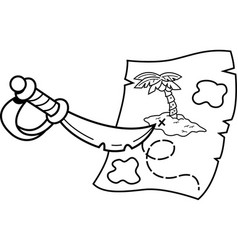 cartoon sword pointing at a treasure map vector image