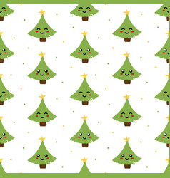 christmas tree chatacters seamless pattern vector image