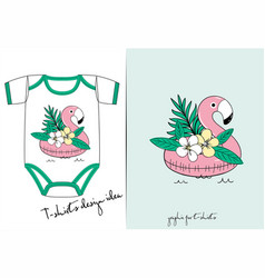 clothes for newborn of flamingo vector image