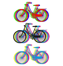 Colorful bicycle silhouettes set vector