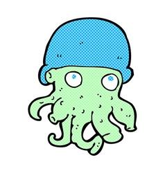 Comic cartoon alien head wearing hat vector