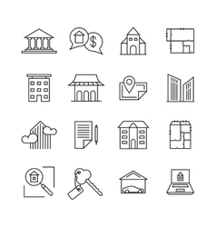 commercial real estate linear icons property vector image