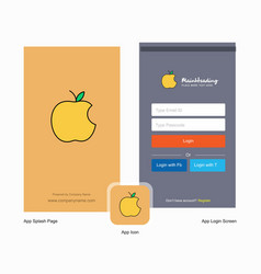 company apple splash screen and login page design vector image