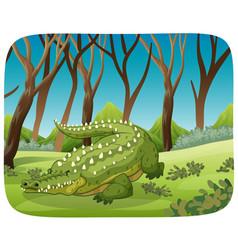 Crocodile in woods scene vector