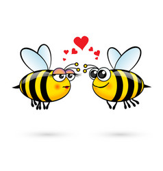 Cute cartoon bees in love on white background vector
