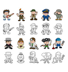 Cute cartoon people set vector