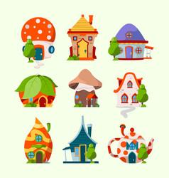 cute funny houses magic fairytale buildings vector image