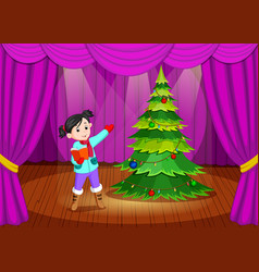 cute girl in winter clothes performing on stage vector image