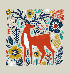 deer hand drawn vector image