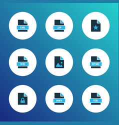 document icons colored set with file image file vector image