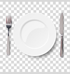 empty plate with knife and fork isolated vector image