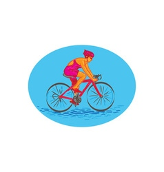 Female cyclist riding bike drawing vector