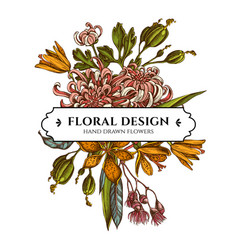 floral bouquet design with colored japanese vector image