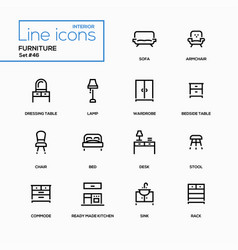Furniture - line design icons set vector