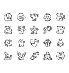 gingerbread charcoal draw line icons set vector image