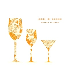 Golden art flowers three wine glasses vector
